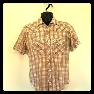 Plainsman s/s retro western snap button shirt Med.